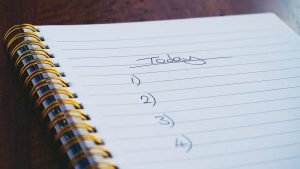 to-do list, blank page numbered to four