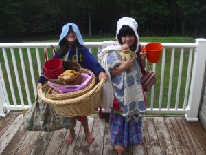 homeschooling, girls wearing bonnets